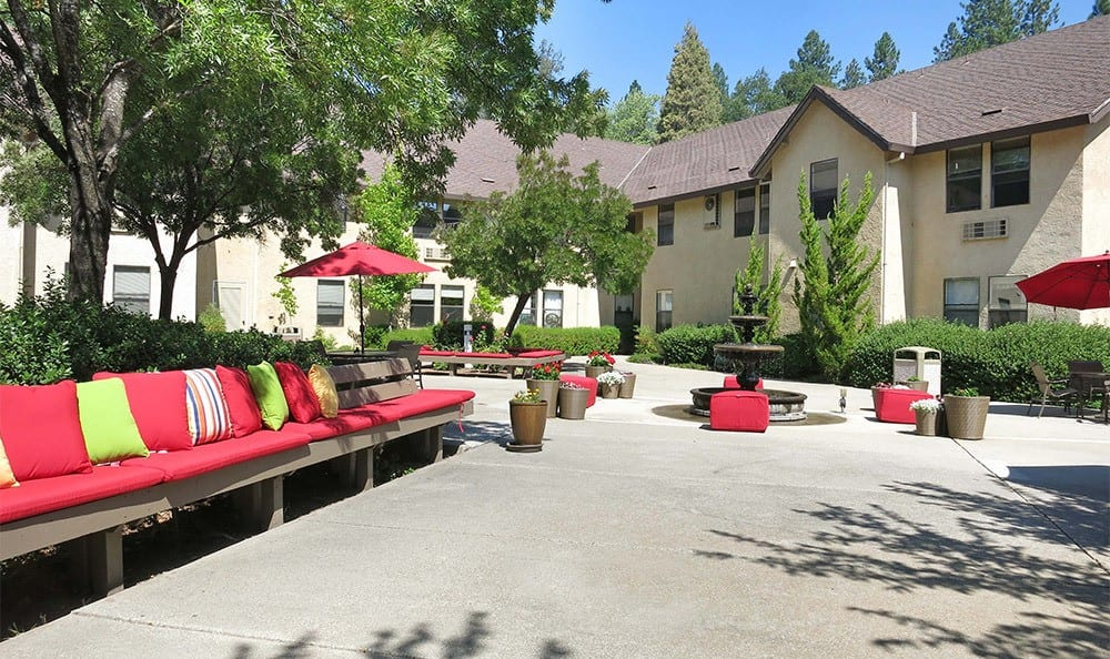 Common Courtyard at the senior living community in Grass Valley