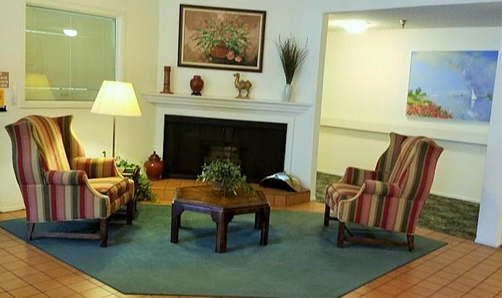 Fireplace at the senior living community in Sacramento