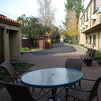 Patio area at the senior living community in Sacramento
