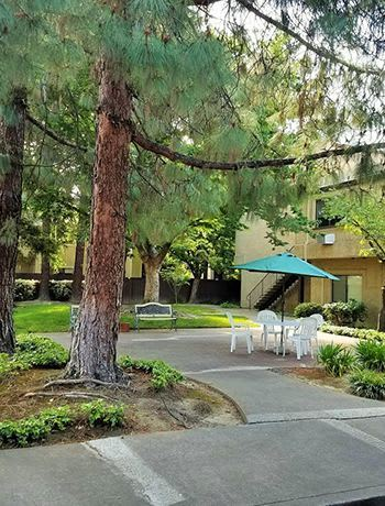 Well landscaped yards at the senior living community in Sacramento