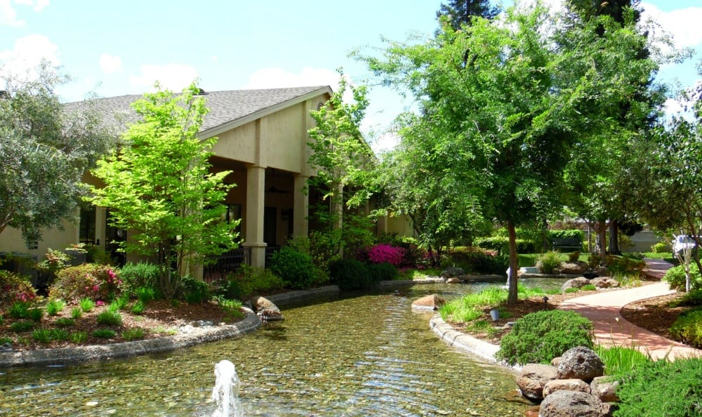Water feature at the Senior Living in Carmichael