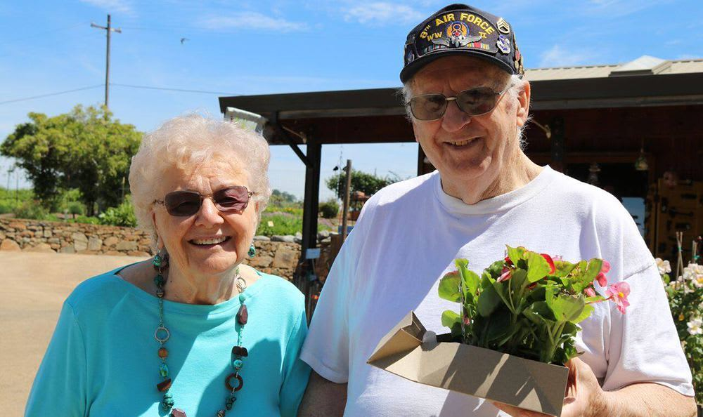 Residents buying flowers at the senior living community in Carmichael