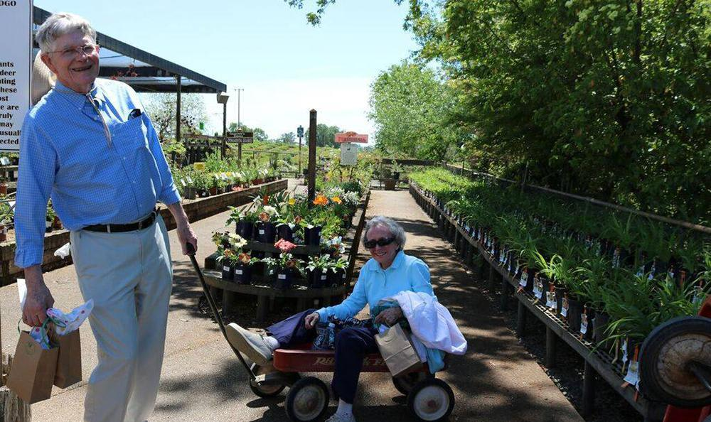 Residents at a flower farm near the senior living community in Carmichael