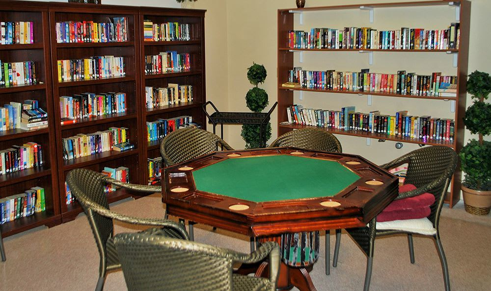 Library and Game Room at the Senior Living in Roseville
