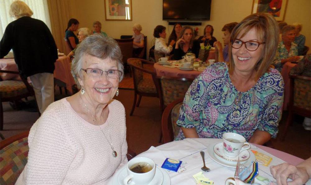 Mom and Daughter at the Senior Living Community in Roseville