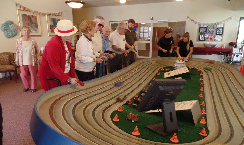 Race car event at Roseville Commons Senior Living