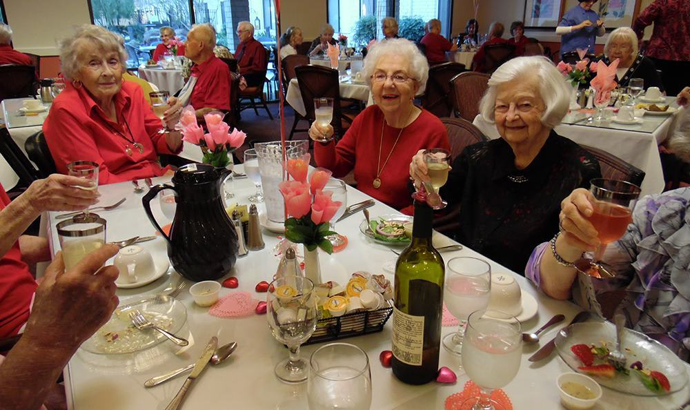 Residents toasting at the senior living community in Sacramento