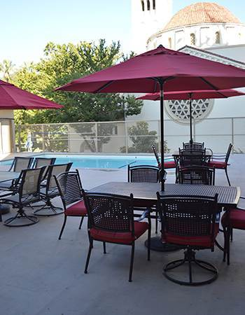 Pool area at the senior living community in Sacramento