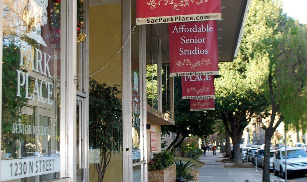 Sidewalk at the senior living community in Sacramento