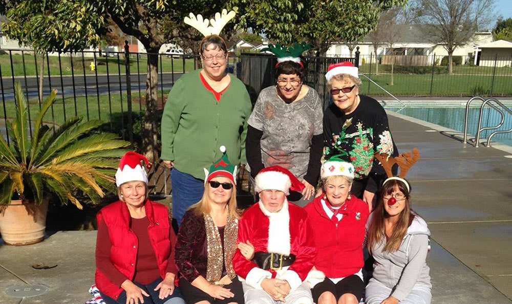 Christmas by the pool at a senior living community in Atwater