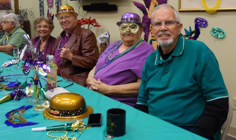 Mardi Gras party at Castle Vista Senior Duplex Community in Atwater