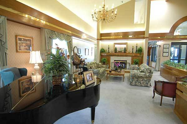 The lobby at River Commons Senior Living.
