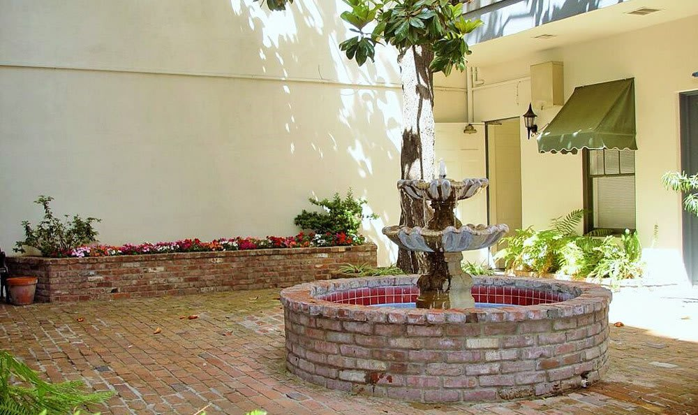 Fountain and garden at apartments in Sacramento
