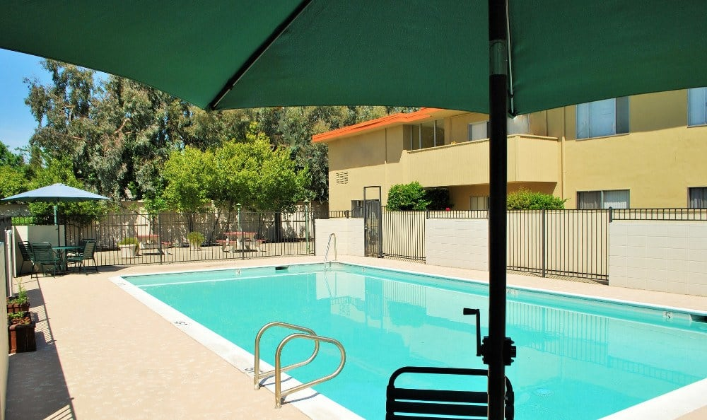 Sparkling pool on a sunny day at Arden Palms Apartments in Sacramento, California
