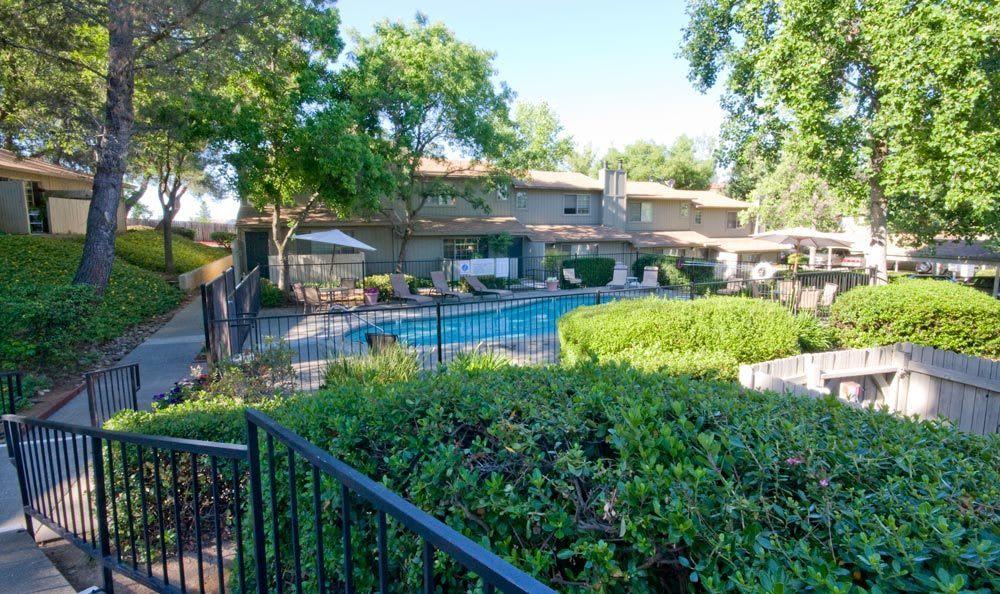Pool view at Auburn Townhomes, in Auburn, CA