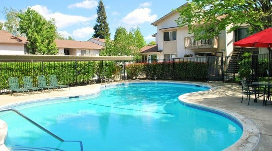 Pool area for the apartments for rent in Fair Oaks, CA