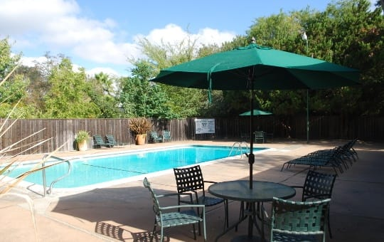 Pool area for the apartments for rent in Sacramento, CA