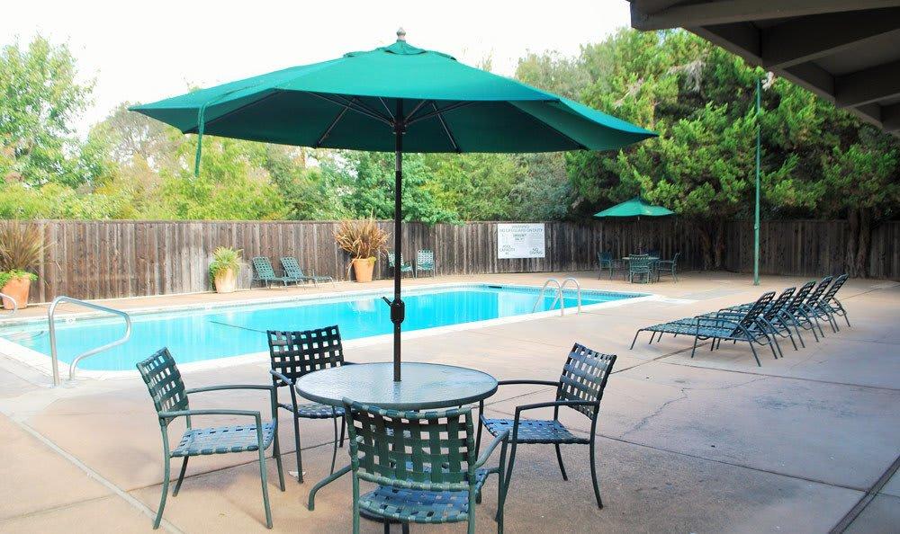 Sparkling pool of Castle Hill Apartments in Sacramento, California