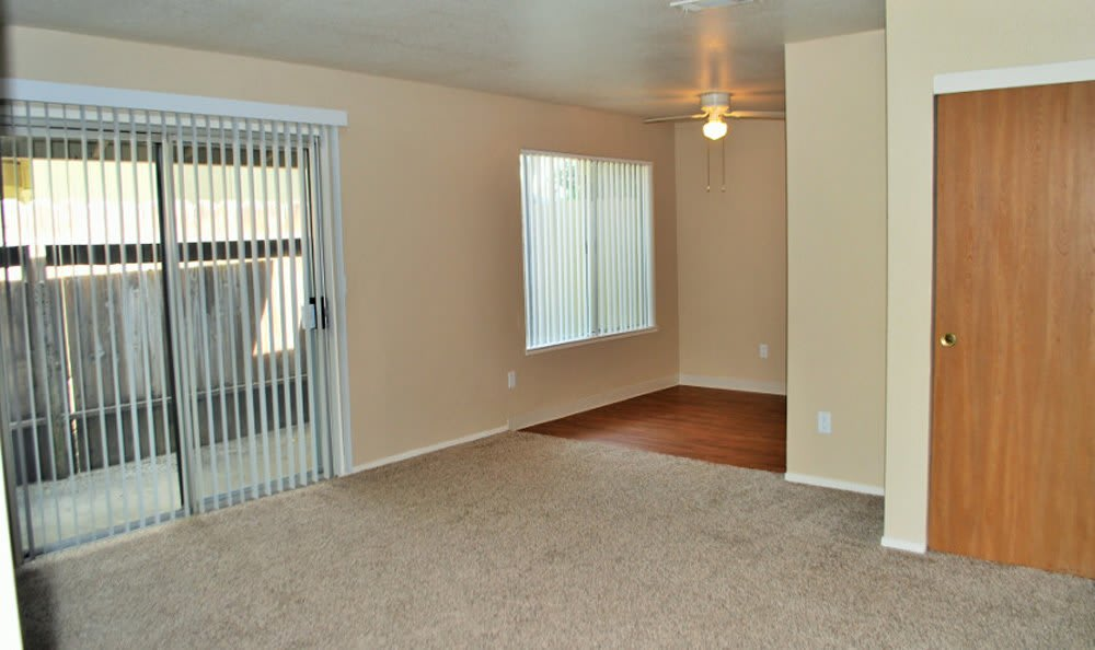 Private patios at Meritage Apartments in Lodi, California
