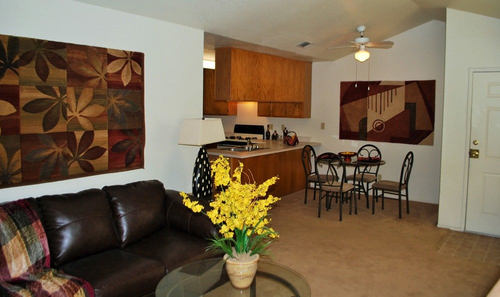 Living Room at River's Edge Apartments in Lodi, CA