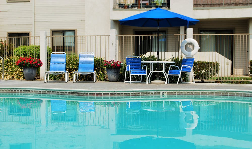Pool side at River's Edge Apartments in Lodi, CA