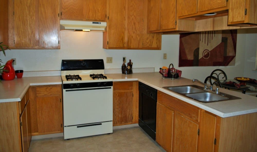 Kitchen at River's Edge Apartments in Lodi, CA