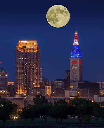 Full moon over the night city