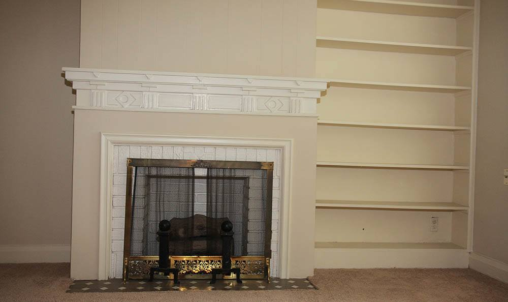 Fireplace and book shelf at apartments in Akron