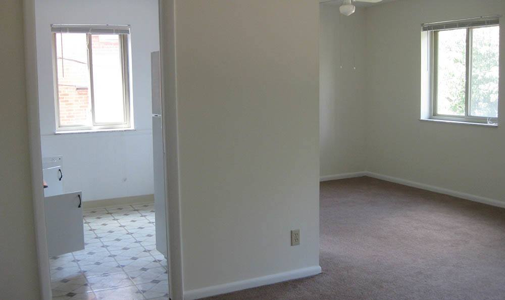 Hallway and bathroom at apartments in Lakewood