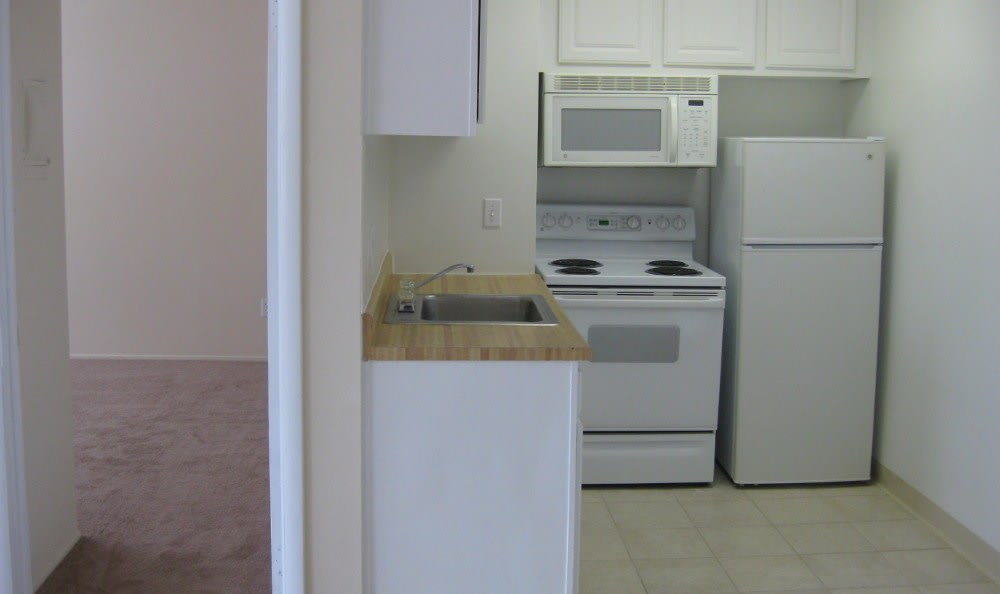 Kitchen at Oak Tree Manor Apartments in Lakewood, OH