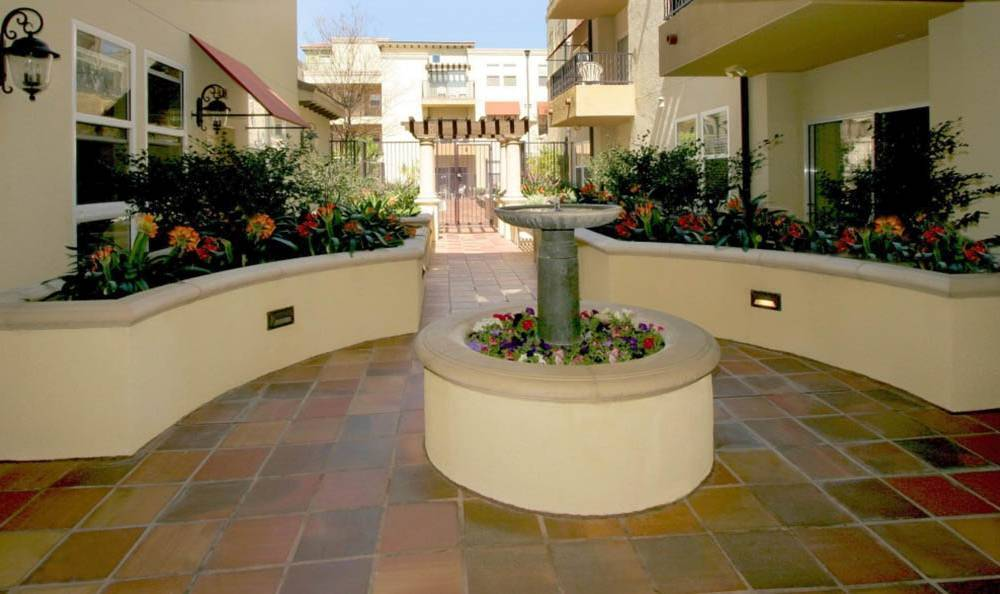 Landscaping and exterior of apartments at The Villagio