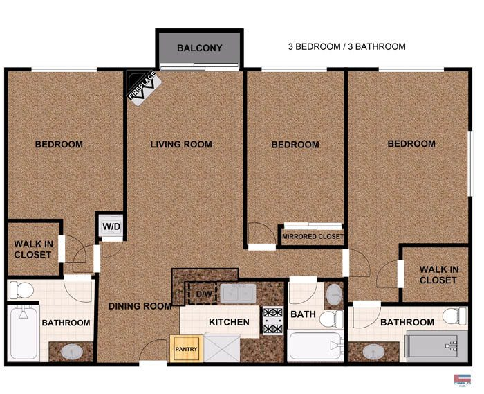 3 Bedroom apartment with balcony