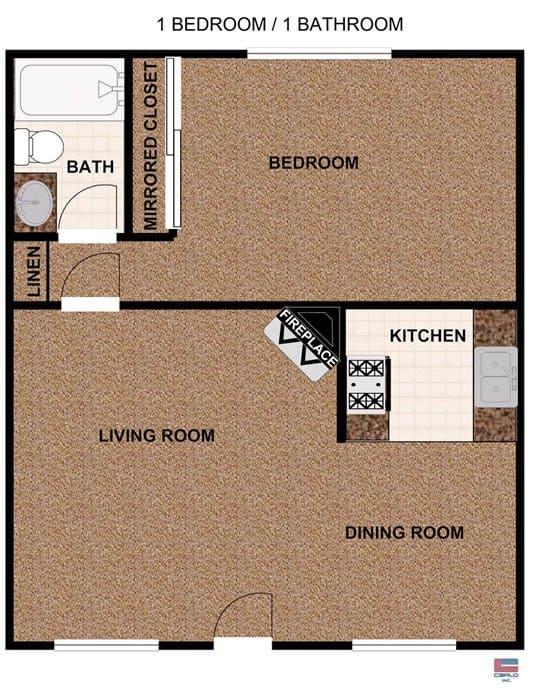 One bedroom apartment floorplan