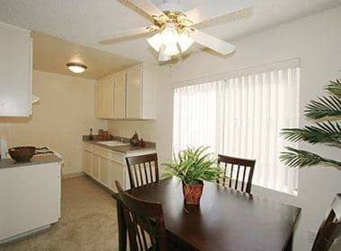 Dining room and kitchen at The Terrace apartments