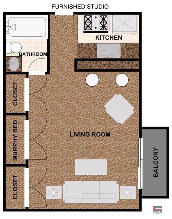 Studio apartment floorplan with balcony