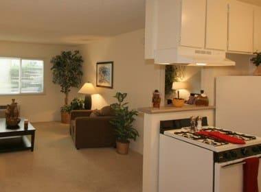Kitchen and Living room at The Esplanade in Lake Balboa, California