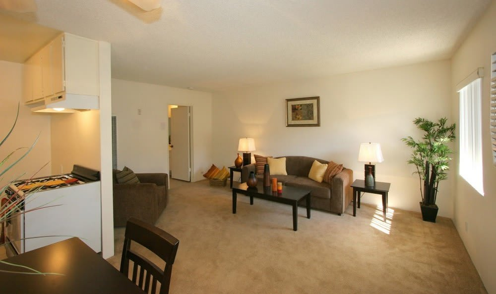 Living and dining room at The Promenade in Van Nuys, CA