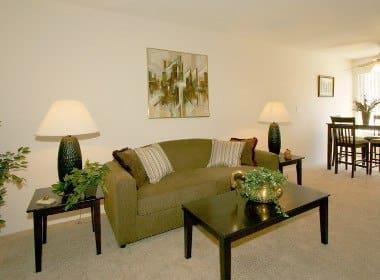 Living room at Embassy Apartments