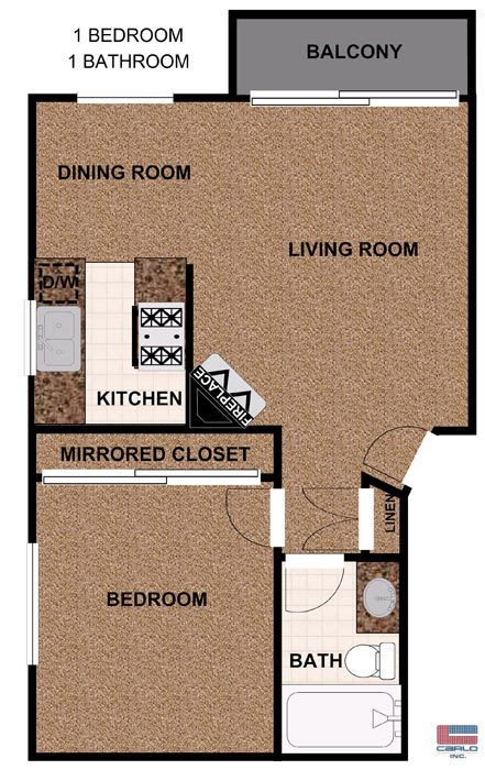 One bedroom apartment with balcony
