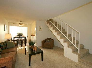 Open living room at Studio City, CA apartments