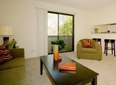 Bright living room at Vista Pointe II in Studio City
