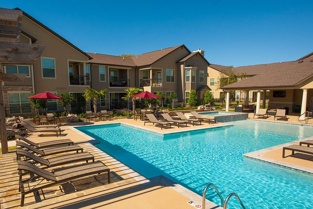 Residents at The Boulders on Fern Apartment Homes enjoy a saltwater resort style pool and spa