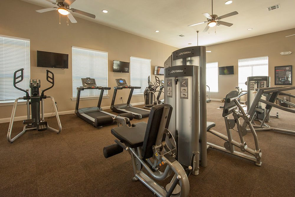 Take advantage of the oversized fitness center at The Boulders on Fern Apartment Homes
