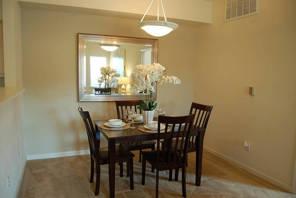 The  dinning room in one of the apartments at The Village at Westlake Apartment Homes