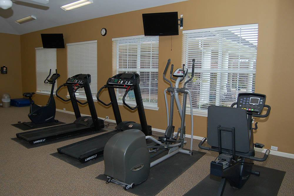 A fitness room is just one of the amenities offered at The Village at Westlake Apartment Homes
