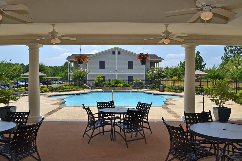 The community pool at The Village at Westlake Apartment Homes