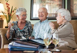 Conversation with friends at Rittenhouse Village senior living communities