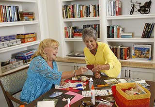 Senior living residents making crafts in Allentown