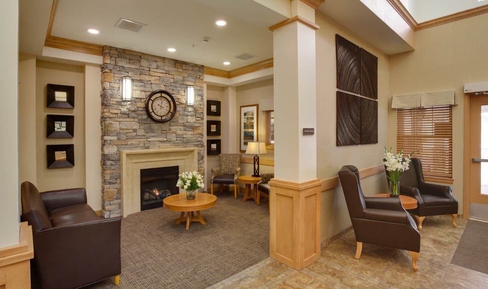Senior living lobby in Aurora, CO