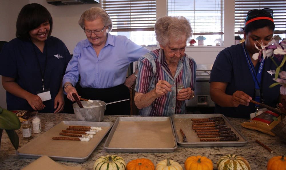 Residents enjoying Autumn activities at Grace Point Place